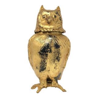 Toyo Japan Mid-Century Gilded Iron Owl Lidded Ornament