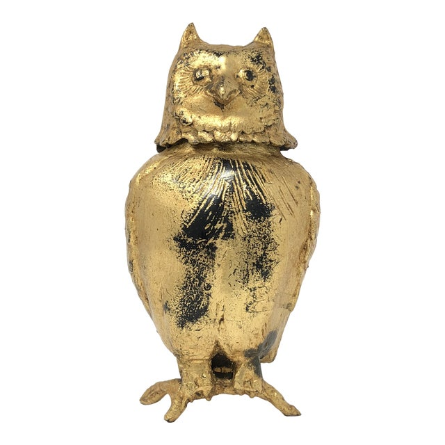 Toyo Japan Mid-Century Gilded Iron Owl Lidded Vessel For Sale