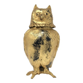 Toyo Japan Mid-Century Gilded Iron Owl Lided Ornament