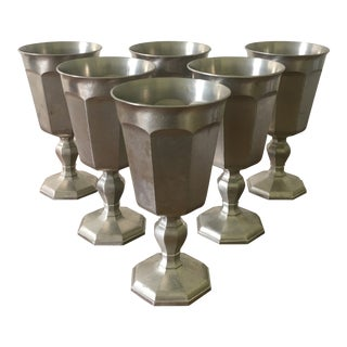 Vintage Pewter Wine Goblets by Gorham- a Set of 6 For Sale