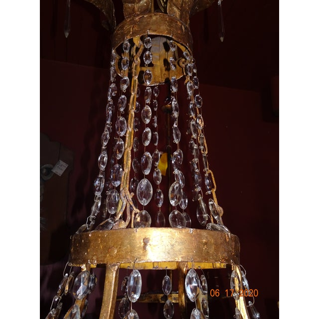 Metal 19th Century Italian Gilded Iron and Crystal Chandelier For Sale - Image 7 of 12