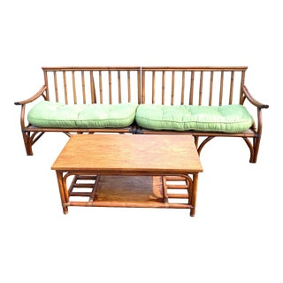 Vintage 1960's Ficks Reed Pagoda Style Modular Bamboo Patio Sofa and Table - a Set of 3 For Sale