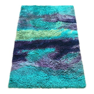 Abstract Mid Century Modern Rya Wool Shag Rug - 4′4″ × 6′4″ For Sale