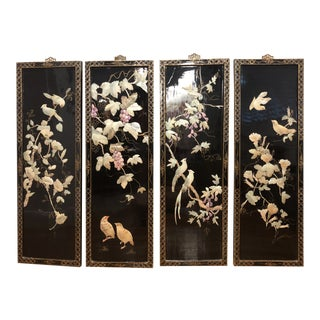 Asian Mother of Pearl Panels - Set of 4 For Sale