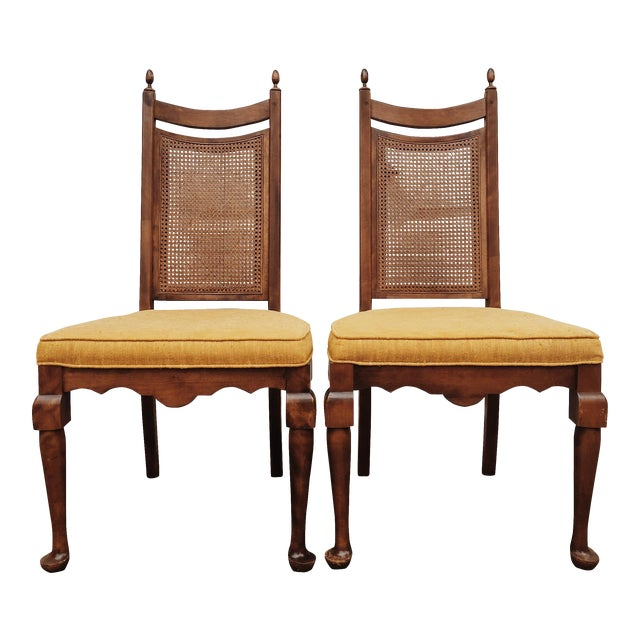 Early American Wood Cane Dining Chairs - a Pair For Sale