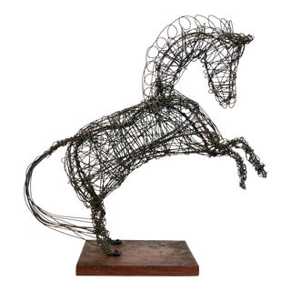 Vintage 1980s Tangled Wire Horse Sculpture W/ Wood Base For Sale