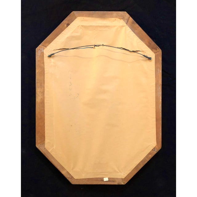 Brown Italian Mid-Century Beaded and Beveled Octagonal Wall Mirror For Sale - Image 8 of 10