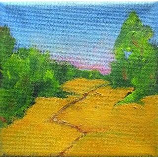 Miniature Hillside Path Plein Air Landscape Oil Painting For Sale