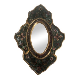 Florentine Floral Pattern Under Glass Wood Mirror For Sale