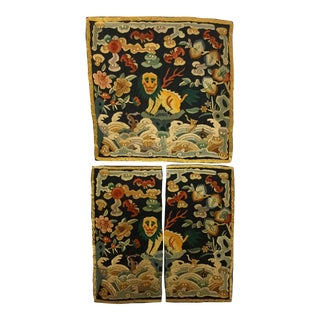 Antique Chinese Hand Embroidered Silk Rank Badges - Set of 3 For Sale