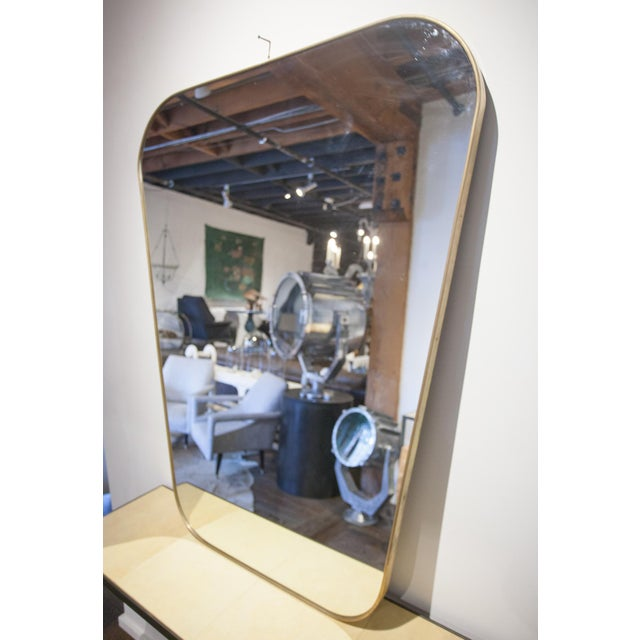 Mid-Century Modern Pair of Rounded Trapezoid Brass Mirrors For Sale - Image 3 of 5
