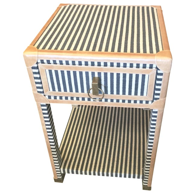 Blue & White Striped Nightstand - Image 1 of 8