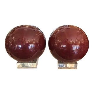 Pair of Huge Red Balls Modern Art Sculptures Lucite Bases For Sale