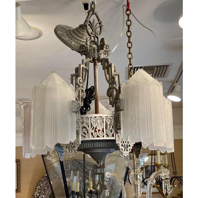 Metal Antique Art Deco 5 Light Chandelier For Sale - Image 7 of 7
