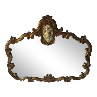 1970s Rococo Style Gilded Wall Mirror With Bisque Figures Embraced For Sale