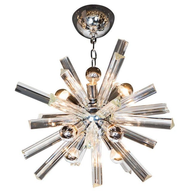Silver Mid-Century Modern Sputnik Chrome Chandelier with Murano Triedre Rods by Camer For Sale - Image 8 of 8