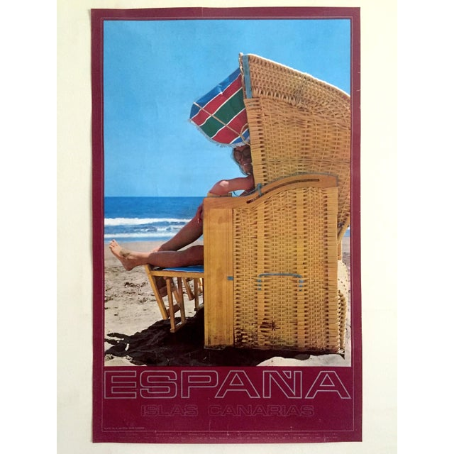 Espana Canary Islands Rare Mid Century Vintage 1960's Collector's Spain Travel Poster For Sale - Image 11 of 13