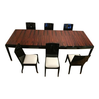 Macassar Ebony and Black Lacquer Table and 6 Matching Chairs, Striking Expandable Dining Set For Sale