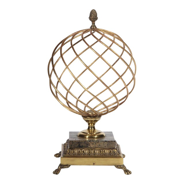 1980s Hollywood Regency Brass Orb Decoration For Sale