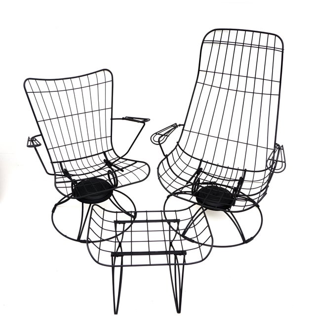 Mid-Century Homecrest Metal Wire Patio Chairs & Ottoman    Indoor/Outdoor High Back Swivel Rocker Lounger Footstool Original Cushions Included For Sale - Image 10 of 10