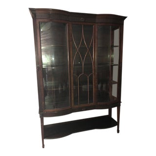 Early 20th Century English Mahogany Display Cabinet For Sale