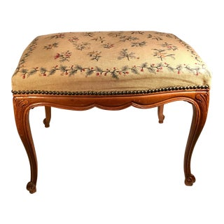 Antique French Botanical Needlepoint Stool Bench For Sale