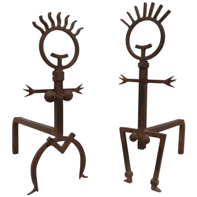 Pair of Brutalist Male and Female Fireplace Andirons For Sale