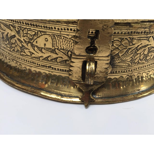 Decorative Large Round Anglo-Indian Brass Box Tea Caddy For Sale - Image 4 of 10
