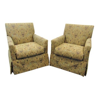 Bernhardt Swivel Club Chairs - a Pair For Sale