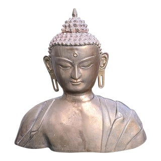 1960s Large Brass Buddha Bust For Sale