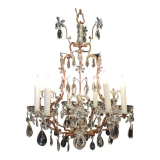 Early 20th C French Iron, Tole, and Crystal Chandelier, attributed to Bagues