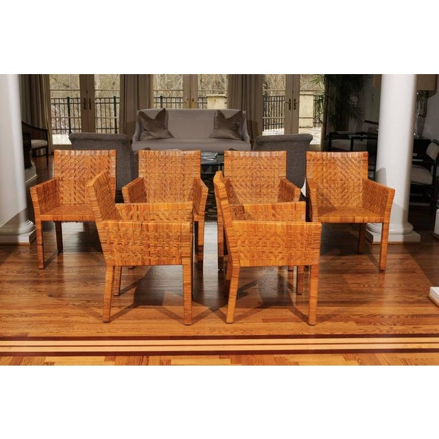 Mid-Century Modern Terrific Restored Set of Six Cane Chairs in the Style of Jean-Michel Frank For Sale - Image 3 of 11
