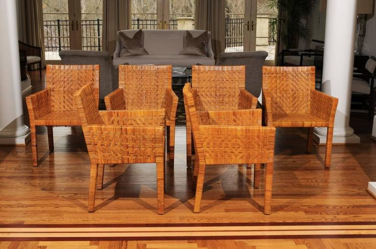 Mid Century Modern Terrific Restored Set Of Six Cane Chairs In The Style Of  Jean