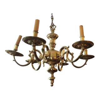 Antique 1900s French Brass French Provincial 6 Branch Chandelier For Sale
