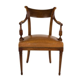 Neoclassical Style Mahogany Armchair With Turned Column Front Legs, Italy Circa 1900 For Sale