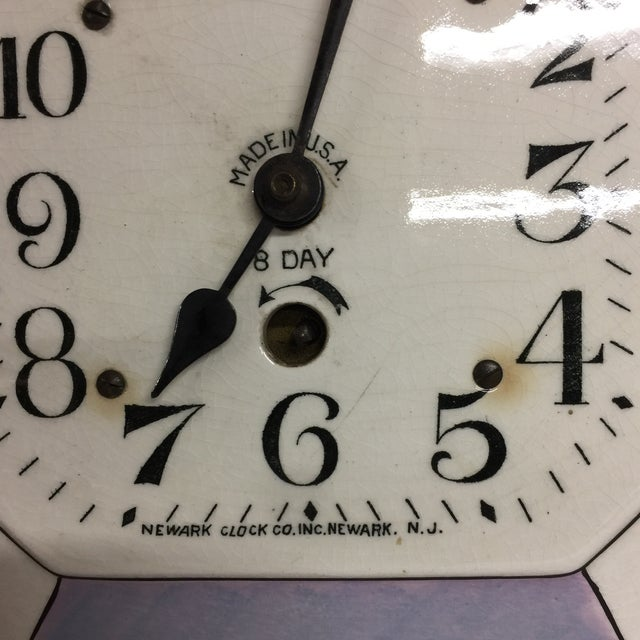 Traditional Vintage Delft Eight Day Clock Newark Clock Co. For Sale - Image 3 of 5