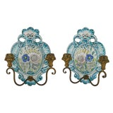 Image of 1940s Vintage Italian Faience Pottery Sconces- A Pair For Sale
