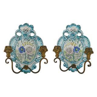 1940s Vintage Italian Faience Pottery Sconces- A Pair For Sale
