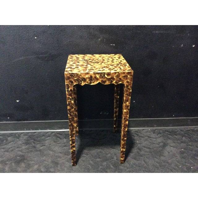 Contemporary Faux Tortoiseshell Side Table For Sale - Image 4 of 5
