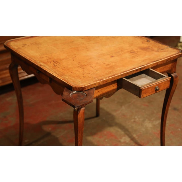 Metal 19th Century French Four-Drawer and Glass Holder Game Table With Leather Top For Sale - Image 7 of 10