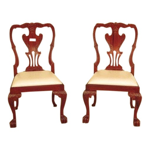 21st Century Georgian Mahogany Dining or Occasional Side Chairs- A Pair For Sale