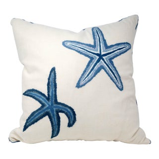 "20"" Linen Starfish Accent Pillow For Sale"