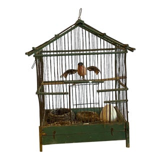 19th Century Wooden Cage With Bird For Sale