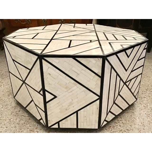 Modern Tessellated Bone Inlay Geometric Coffee Table For Sale In West Palm - Image 6 of 11