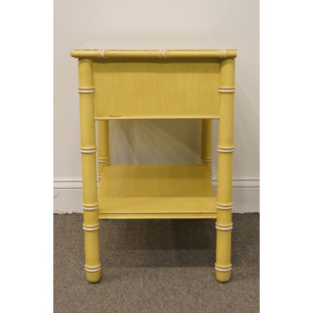 Wood Vintage Thomasville Furniture Allegro Collection Asian Faux Bamboo Nightstand For Sale - Image 7 of 11