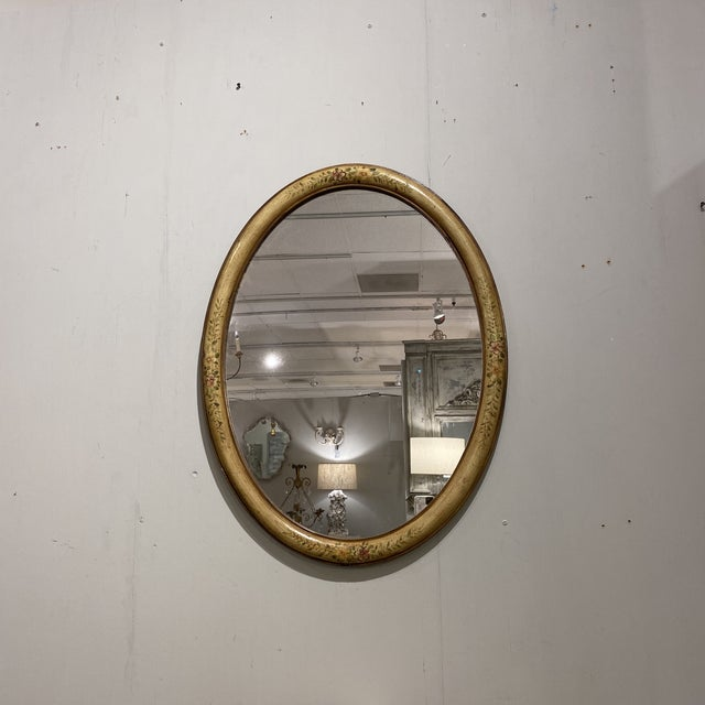 Glass Vintage Yellow Hand-Painted Mirror For Sale - Image 7 of 7
