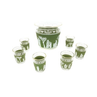 Vintage Mid Century 7 Piece Bar Set in the Hellenic Green Pattern by Jeanette Glass Company For Sale