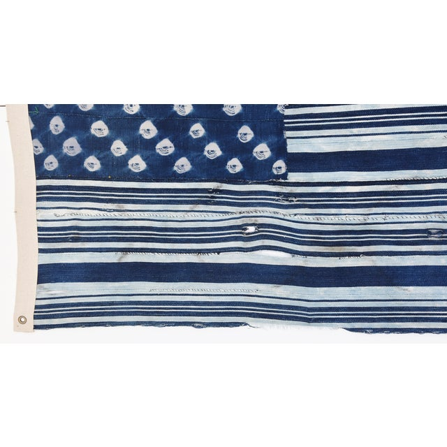 Custom Tailored Blue & White Flag Created From Vintage African Fabrics - Image 6 of 11