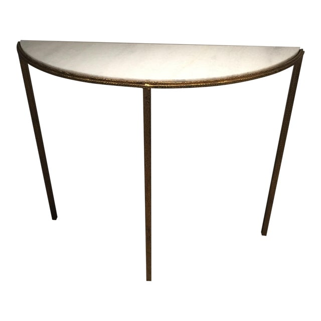 Marble & Gold Half-Circle Console - Image 1 of 5