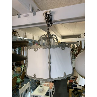 Vintage Deco Silver and Ivory Silk Drum Chandelier Preview